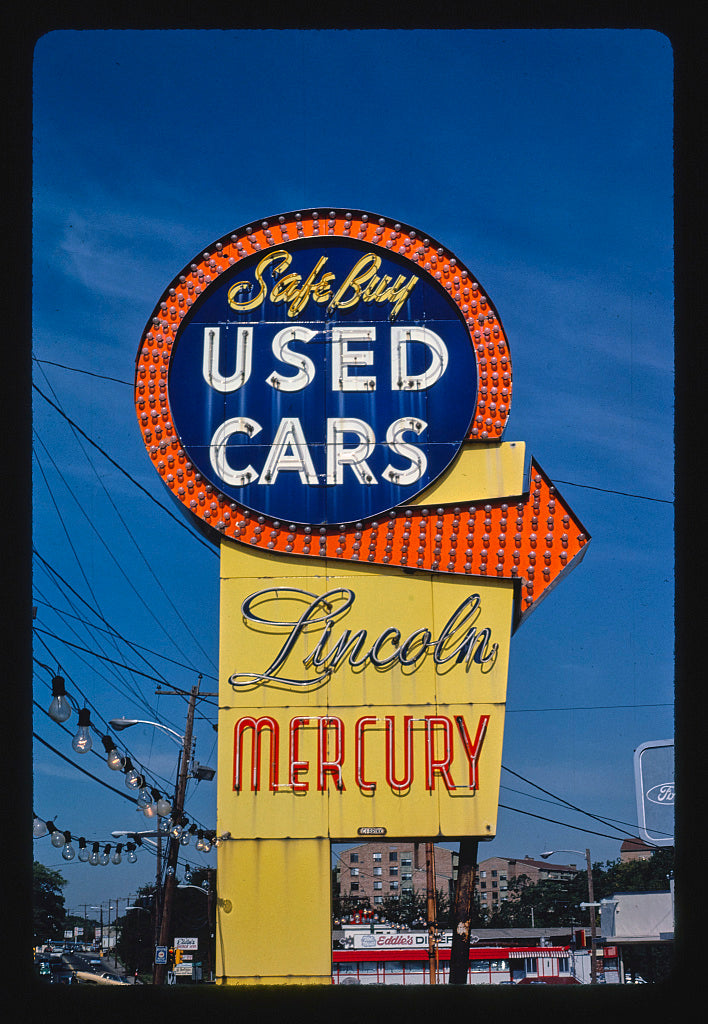 8 x 12 Photo of Safe Buy Used Cars sign, Quincy, Massachusetts 1984 Margolies, John 45a