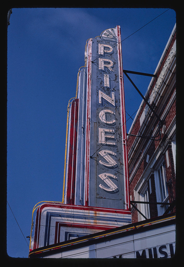 8 x 12 Photo of Princess Theater sign, Columbia, Mississippi 1986 Margolies, John 45a
