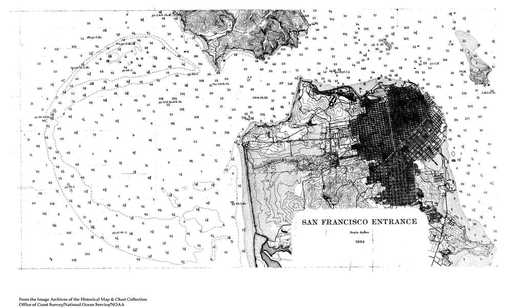 18 x 24 inch 1882 California old nautical map drawing chart of Navigation Chart of the Entrance to San Francisco Bay From  U.S. Coast Survey x7408