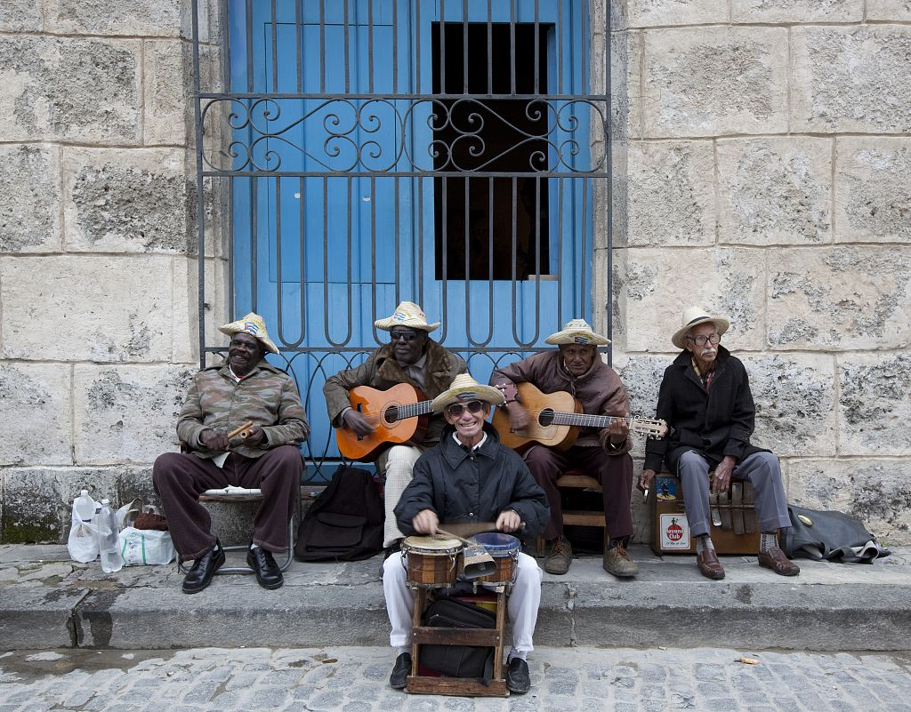 18 x 24 Photograph reprinted on fine art canvas  of Cuban band members play on the Plaza de la Cathedral in Havana Cuba r37 2010 January 10 by Highsmith, Carol M.,