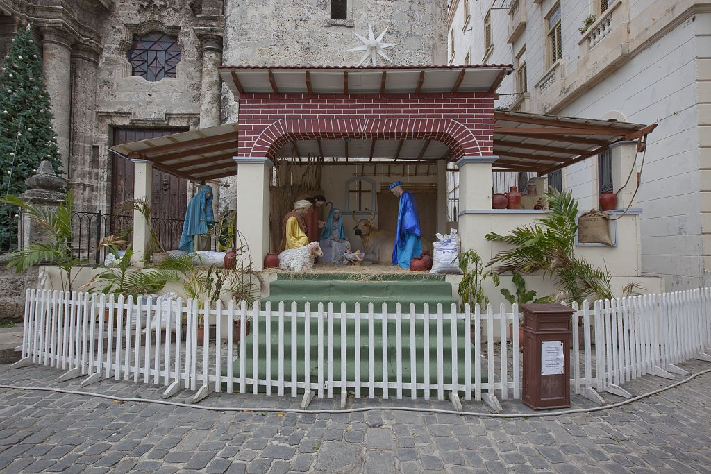 18 x 24 Photograph reprinted on fine art canvas  of A Nativity Scene on the Square of the Plaza de la Catedral at the Havana Cathedral Cuba r40 2010 January 10 by Highsmith, Carol M.,