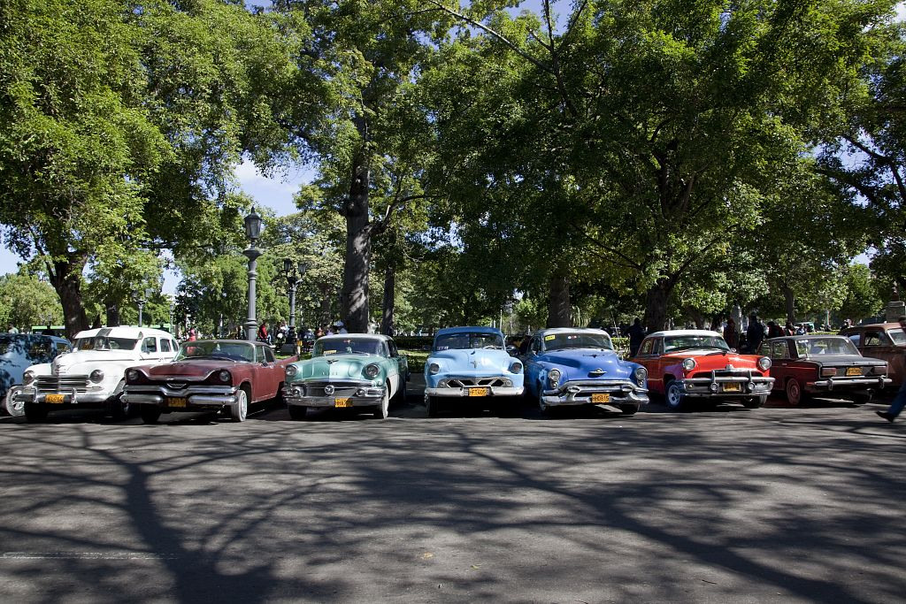 18 x 24 Photograph reprinted on fine art canvas  of American vintage cars line up near the Havana Cuba Capitol and Chinatown in Old Havana Cuba r61 2010 January 11 by Highsmith, Carol M.,