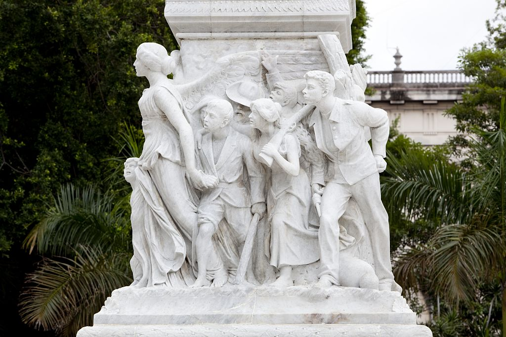 18 x 24 Photograph reprinted on fine art canvas  of Bas relief details around the statue of JosŽ Mart' located in the Parque Central Havana Cuba r81 2010 January 9 by Highsmith, Carol M.,