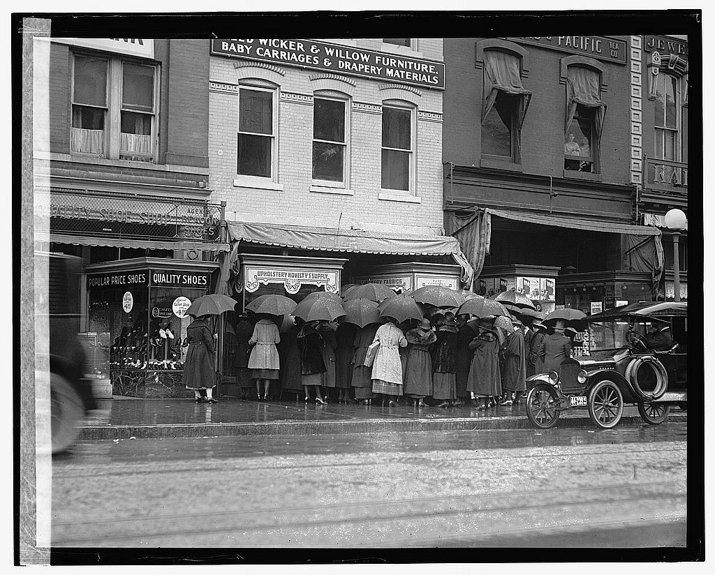 16 x 20 Gallery Wrapped Frame Art Canvas Print of Rear view of group of women with umbrellas standing outside of store 1922 National Photo Co  55a