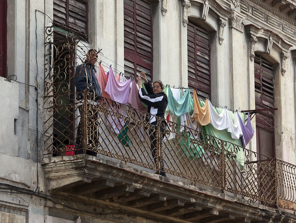 18 x 24 Photograph reprinted on fine art canvas  of Clothes hang out to dry in Havana Cuba r02 2010 January 11 by Highsmith, Carol M.,