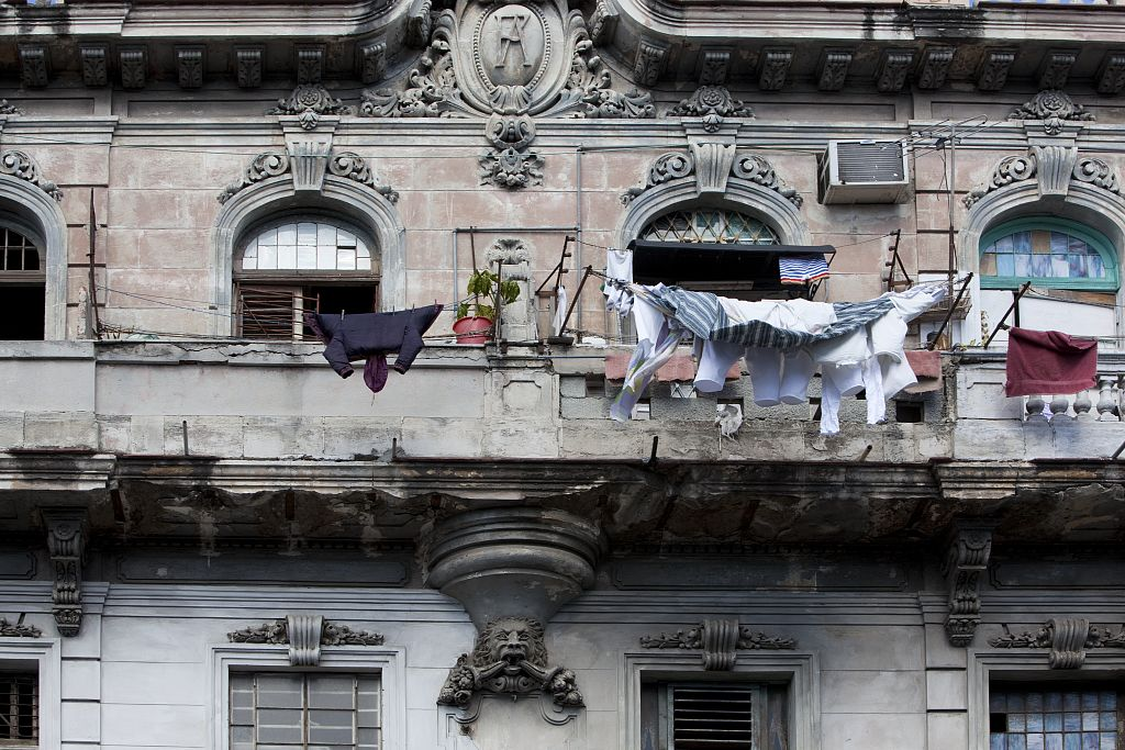 18 x 24 Photograph reprinted on fine art canvas  of Clothes hang out to dry in Havana Cuba r06 2010 January 11 by Highsmith, Carol M.,