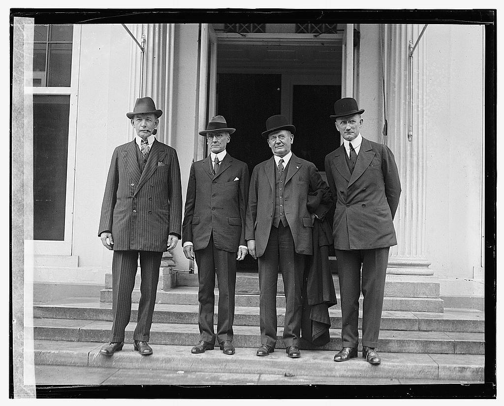16 x 20 Gallery Wrapped Frame Art Canvas Print of Four unidentified men standing outside building, 5/18/22 1922 National Photo Co  81a