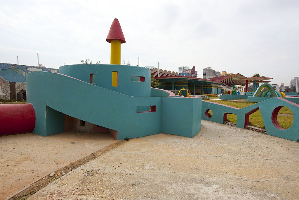 18 x 24 Photograph reprinted on fine art canvas  of Dilapidated amusement park along the Malec—n in Havana Cuba r44 2010 [January] by Highsmith, Carol M.,