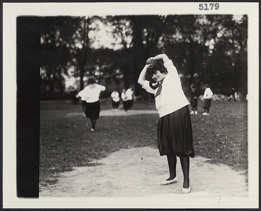 8 x 10 Reprinted Old Photo of [A women's softball baseball game showing a woman on the pitcher's mound about to pitch the ball] 1920 National Photo Co  00a