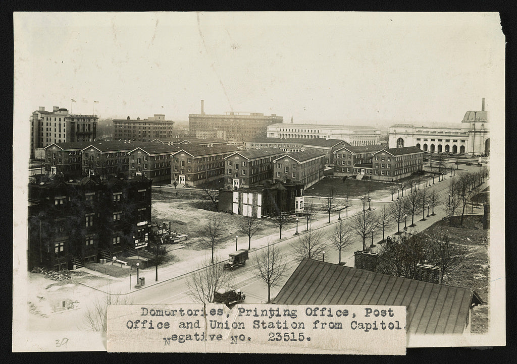 16 x 20 Reprinted Old Photo of Dormitories, Printing Office, Post Office and Union Station from Capitol 1920 National Photo Co  14a