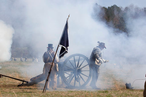 18 x 24 Photograph reprinted on fine art canvas  of Reenactment of Civil War siege of April 1862 Bridgeport Alabama r33 2010 March 27 by Highsmith, Carol M.,