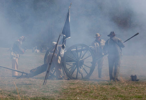 18 x 24 Photograph reprinted on fine art canvas  of Reenactment of Civil War siege of April 1862 Bridgeport Alabama r37 2010 March 27 by Highsmith, Carol M.,