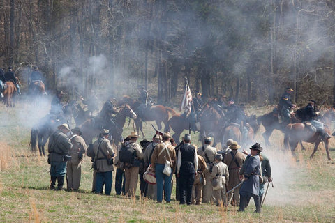 18 x 24 Photograph reprinted on fine art canvas  of Reenactment of Civil War siege of April 1862 Bridgeport Alabama r44 2010 March 27 by Highsmith, Carol M.,