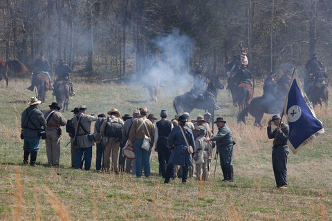 18 x 24 Photograph reprinted on fine art canvas  of Reenactment of Civil War siege of April 1862 Bridgeport Alabama r46 2010 March 27 by Highsmith, Carol M.,