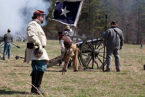 18 x 24 Photograph reprinted on fine art canvas  of Reenactment of Civil War siege of April 1862 Bridgeport Alabama r48 2010 March 27 by Highsmith, Carol M.,