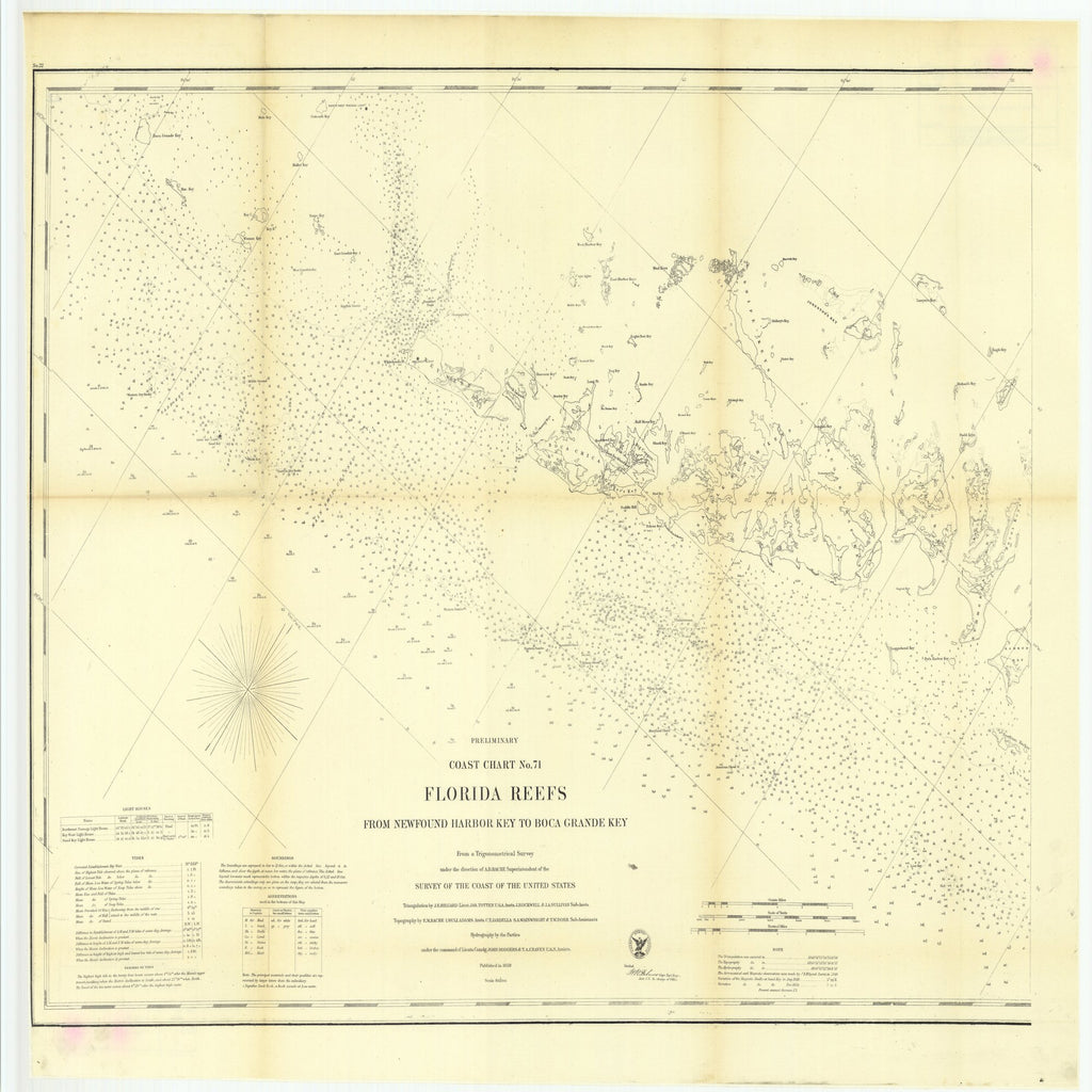 18 x 24 inch 1859 US old nautical map drawing chart of Preliminary Coast Chart Number 71, Florida Reefs from Newfound Harbor Key to Boca Grande Key From  U.S. Coast Survey x1779