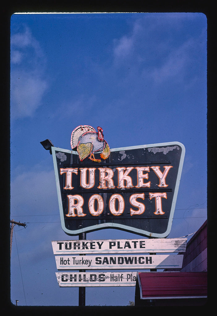 8 x 12 Photo of Turkey Roost Restaurant sign, Bay City, Michigan 1988 Margolies, John 74a