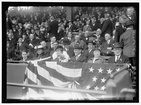 8 x 10 Reprinted Old Photo of Baseball, Wilson At Ball Game; Grayson, Cary T., Dr., U.S.N., Chesley, Mrs. Willoughby S., 1917 Harris & Ewing 39a