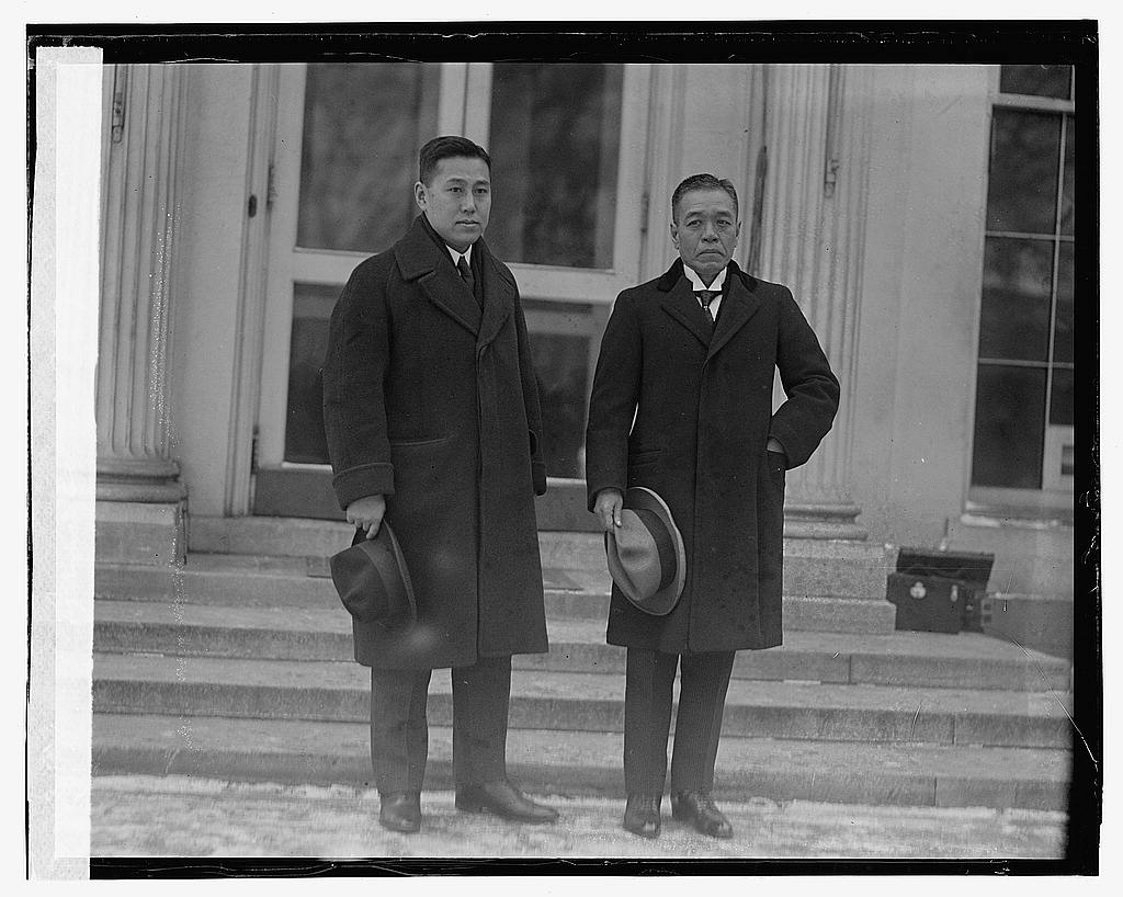 16 x 20 Gallery Wrapped Frame Art Canvas Print of Two men standing by steps of building 1923 National Photo Co  07a