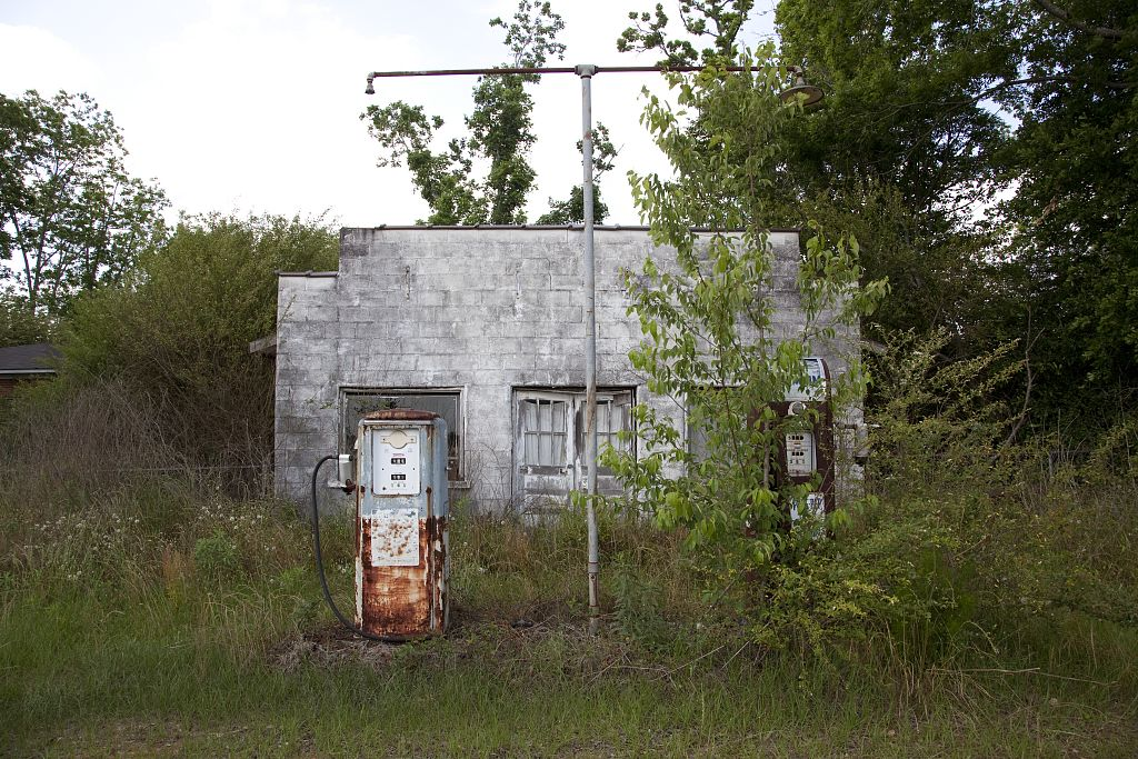 18 x 24 Photograph reprinted on fine art canvas  of Old gas station in Monroe County Alabama r75 2010 May 12 by Highsmith, Carol M.