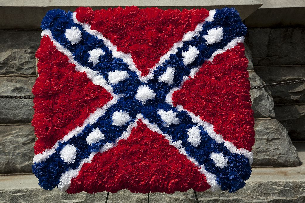 18 x 24 Photograph reprinted on fine art canvas  of Confederate flag made out of flowers at the Confederate Statue in Jasper Alabama r01 2010 May 9 by Highsmith, Carol M.