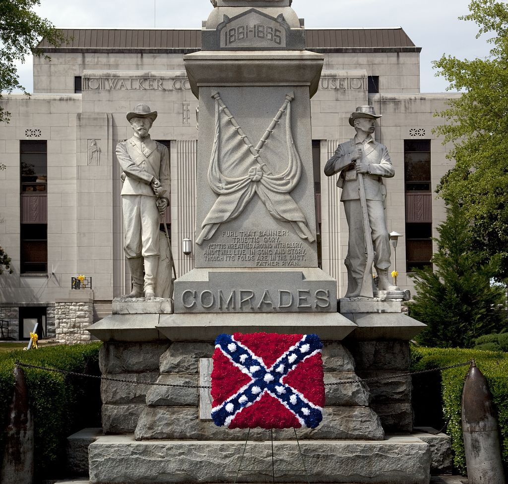 18 x 24 Photograph reprinted on fine art canvas  of Confederate flag made out of flowers at the Confederate Statue in Jasper Alabama r02 2010 May 9 by Highsmith, Carol M.