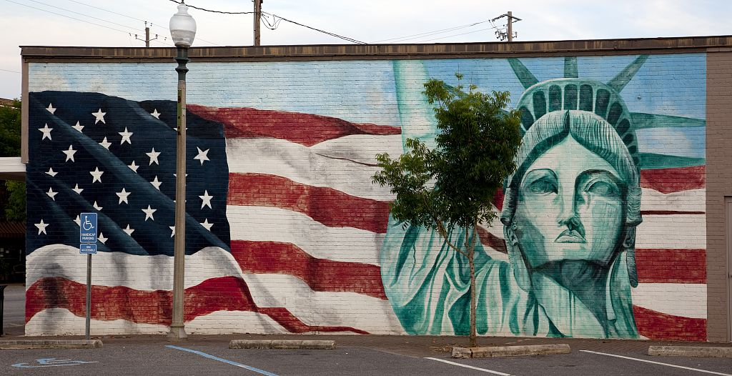 18 x 24 Photograph reprinted on fine art canvas  of American flag and Statue of Liberty mural Bay Minette Alabama r46 2010 May 13 by Highsmith, Carol M.