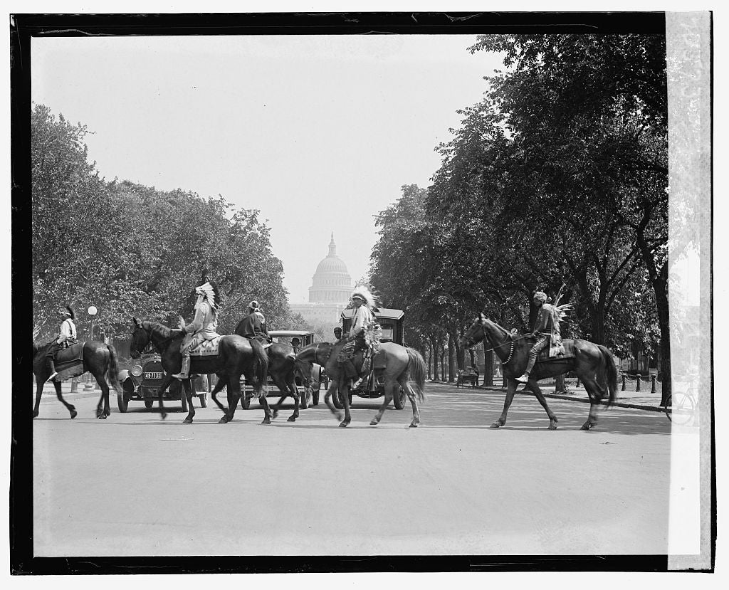 16 x 20 Gallery Wrapped Frame Art Canvas Print of Indians visiting Washington 1923 National Photo Co  75a