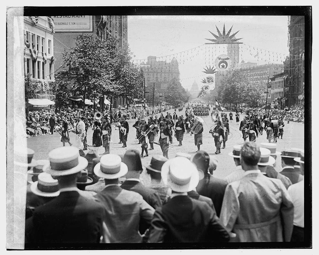 16 x 20 Gallery Wrapped Frame Art Canvas Print of Shriners Parade, Washington, D.C. Ararat, Kansas City, MO, 6/5/23 1923 National Photo Co  37a