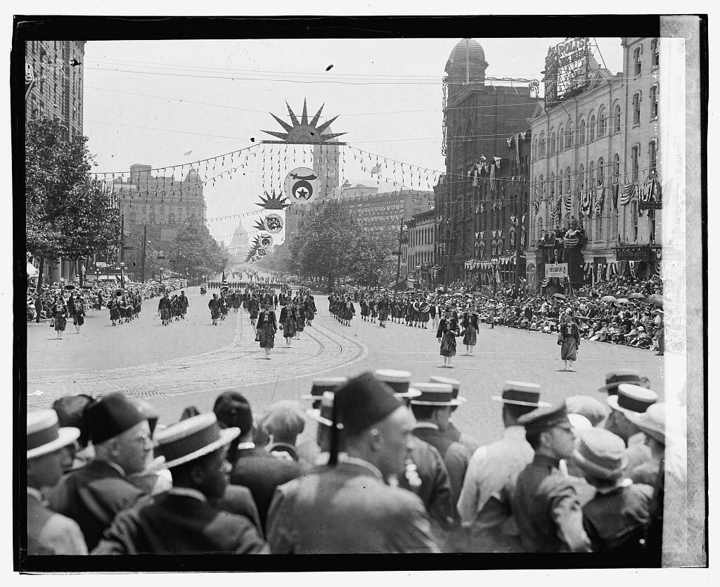 16 x 20 Gallery Wrapped Frame Art Canvas Print of Shriners Parade, Washington, D.C. Al Kader, Portland, ME., 6/5/23 1923 National Photo Co  98a