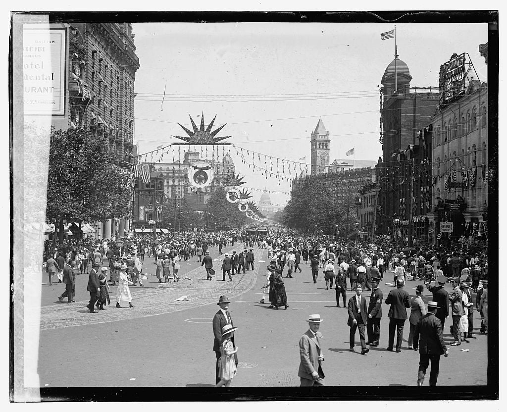 16 x 20 Gallery Wrapped Frame Art Canvas Print of Shriners Parade, Washington, D.C. Ave. after parade 1923 National Photo Co  67a