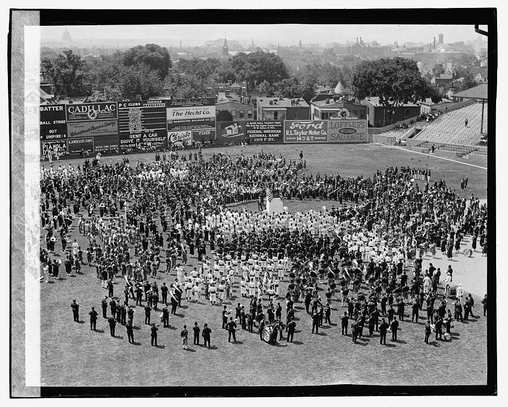 16 x 20 Gallery Wrapped Frame Art Canvas Print of Masses bands at American League Ball Park, 6/7/23 1923 National Photo Co  92a