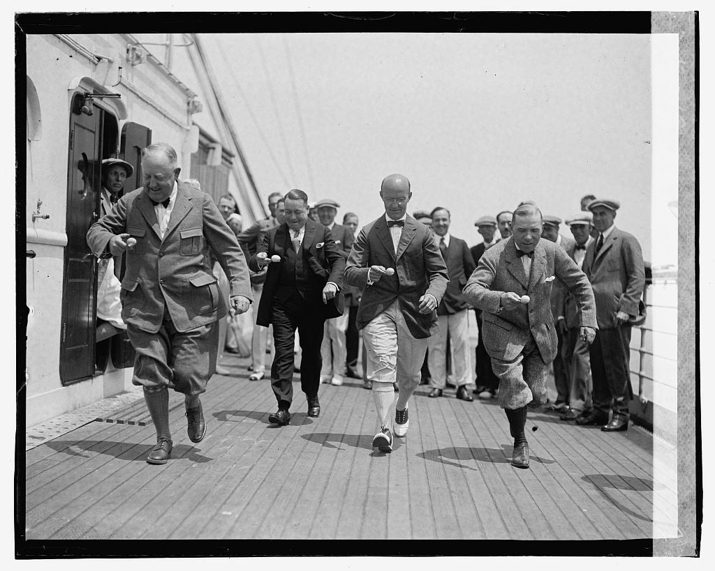16 x 20 Gallery Wrapped Frame Art Canvas Print of Men running on deck of ship 1923 National Photo Co  12a