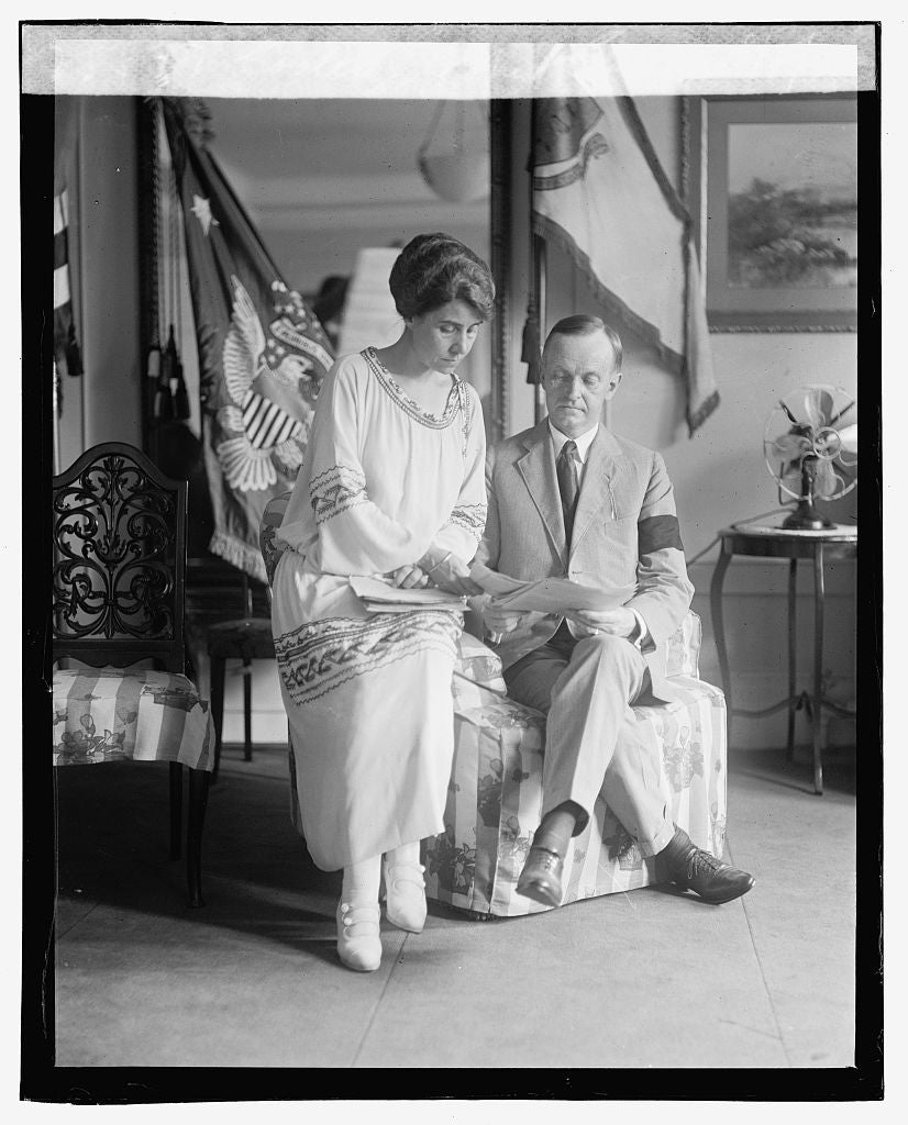 16 x 20 Gallery Wrapped Frame Art Canvas Print of Coolidge & Mrs. Coolidge, 8/5/23 1923 National Photo Co  36a
