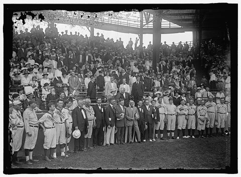 8 x 10 Reprinted Old Photo of Baseball, Congressional. Teams And Crowd: Byrnes, James Francis, Rep. From South Carolina, 1911-1925; Rodgers, John Jacob, Rep. From Massachusetts 1917 Harris & Ewing 19a