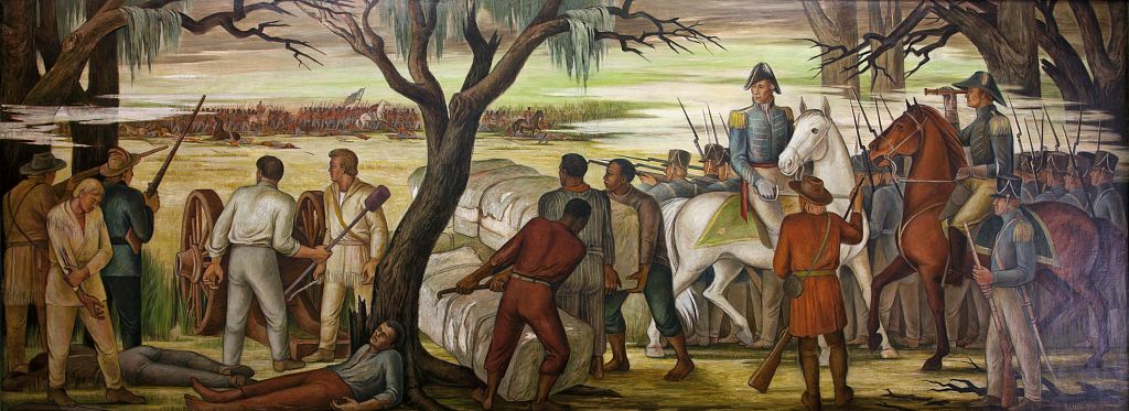 "18 x 24 Photograph reprinted on fine art canvas  of ""Andrew Jackson at the Battle of New Orleans January 8 1814 "" mural by Ethel Magafan at the Recorder of Deeds building built in 1943. 515 D St. NW Washington D.C.  r24 2010"