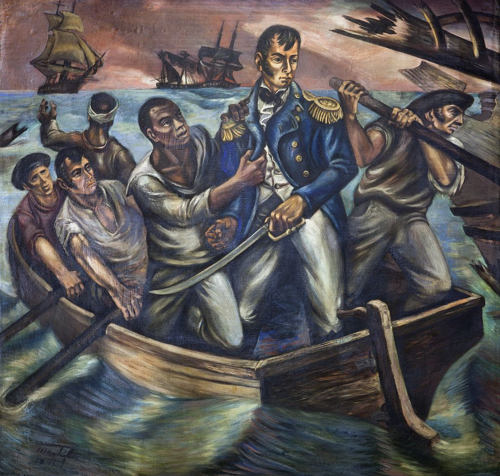 "18 x 24 Photograph reprinted on fine art canvas  of ""Cyrus Tiffany in the Battle of Lake Erie September 13 1813 "" mural by Martyl Schweig at the Recorder of Deeds building built in 1943. 515 D St. NW Washington D.C.  r27 201"