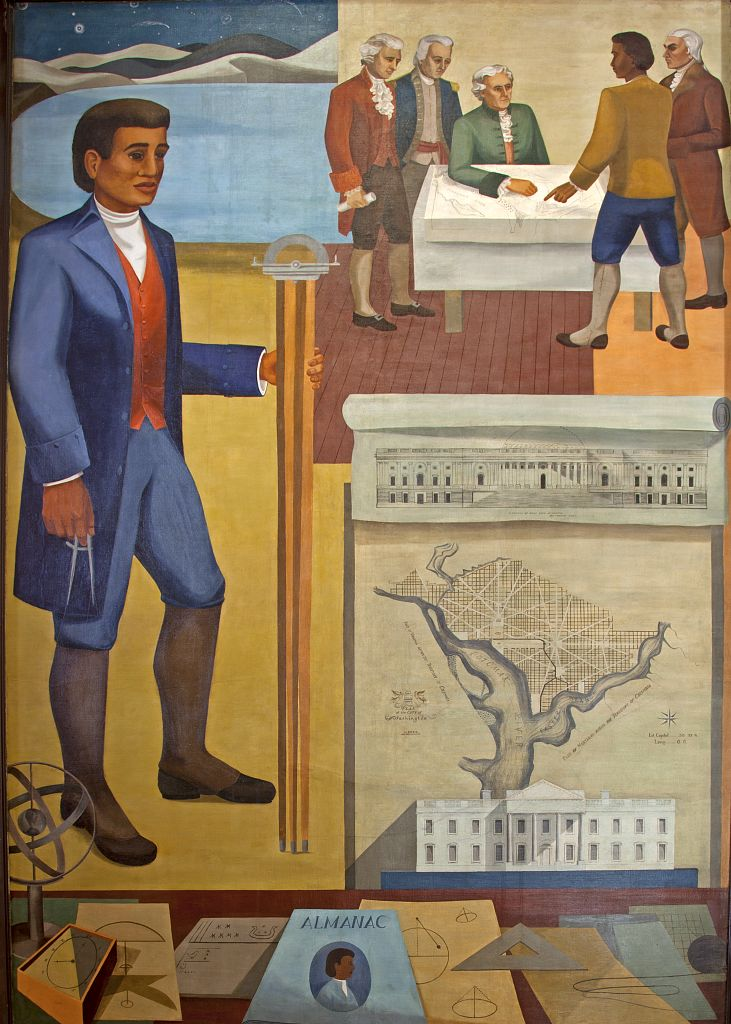 "18 x 24 Photograph reprinted on fine art canvas  of ""Benjamin Banneker: Surveyor-Inventor-Astronomer "" mural by Maxime Seelbinder at the Recorder of Deeds building built in 1943. 515 D St. NW Washington D.C.  r28 2010 by Hig"