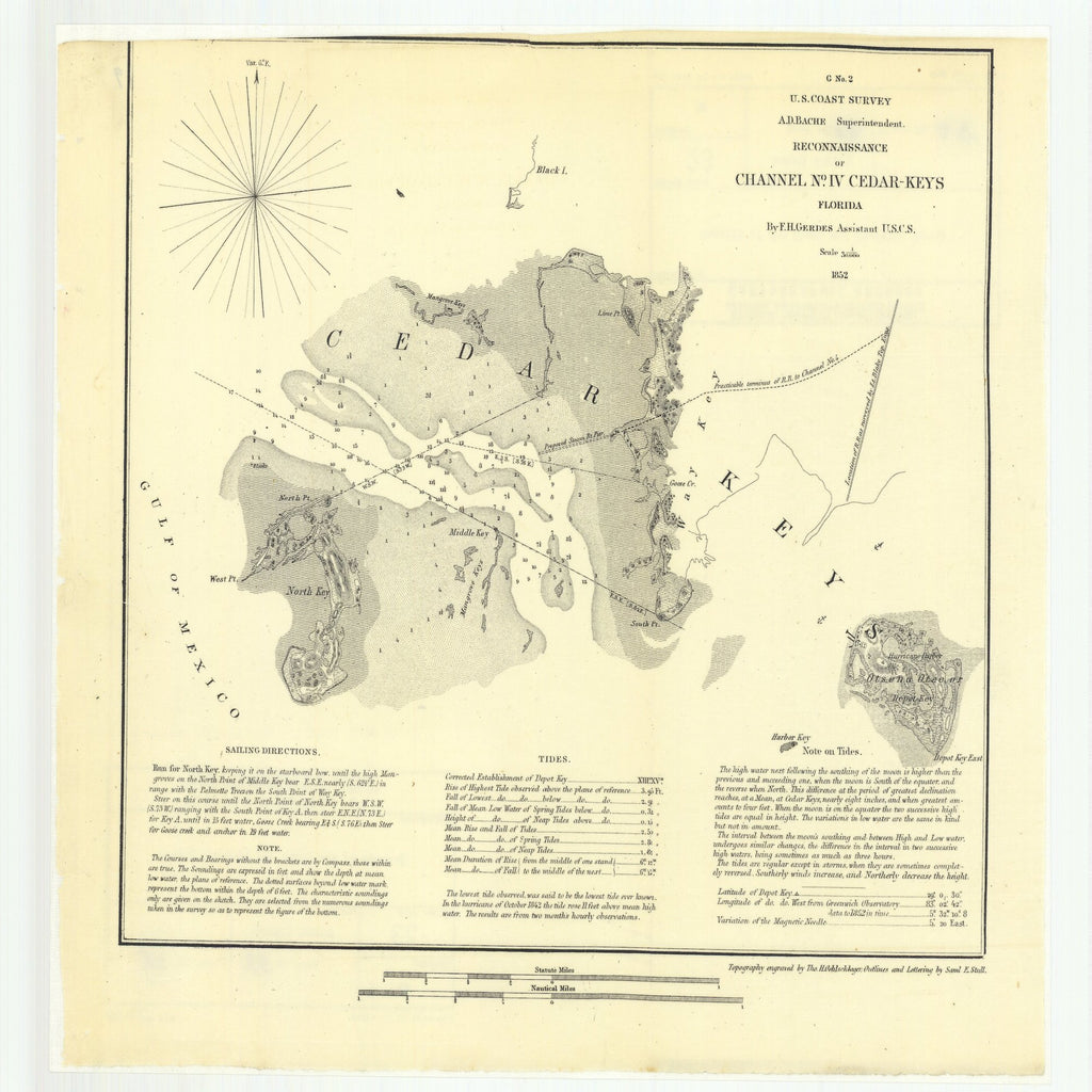 18 x 24 inch 1852 US old nautical map drawing chart of Reconnaissance of Channel Number 4 Cedar-Keys, Florida From  U.S. Coast Survey x1336