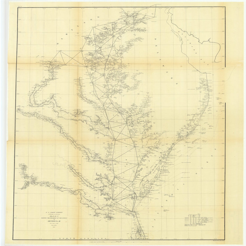 18 x 24 inch 1862 US old nautical map drawing chart of Sketch C Showing the Progress of the Survey in Section Number 3 from 1843 to 1862 From  U.S. Coast Survey x1911