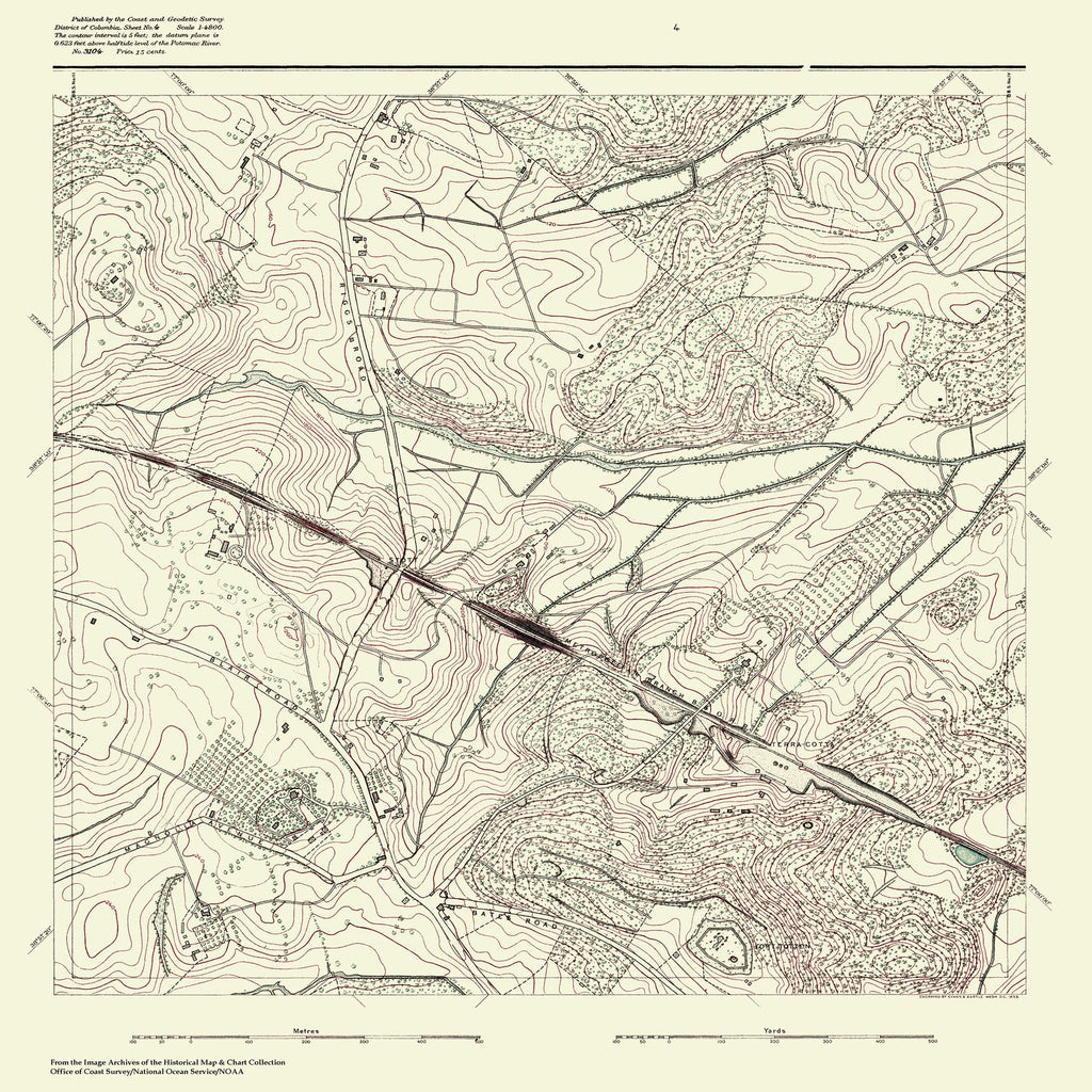 18 x 24 inch 1880 US old nautical map drawing chart of Topographic Map of Washington and Vicinity, Sheet 4 From  NOAA x1112