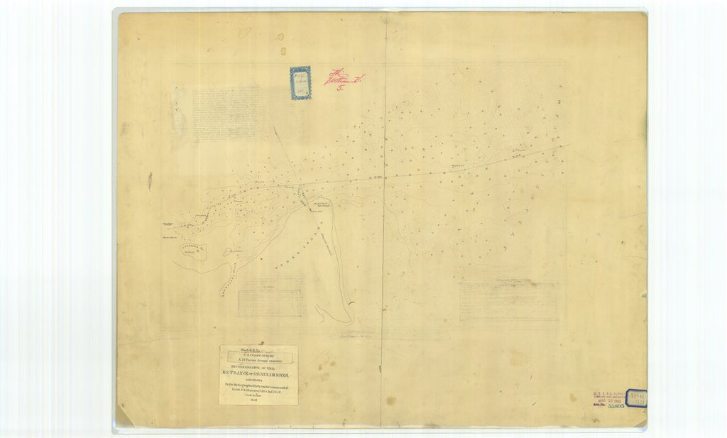 18 x 24 inch 1851 US old nautical map drawing chart of Reconnaissance of the Entrance of Savannah River Georgia From  U.S. Coast Survey x313