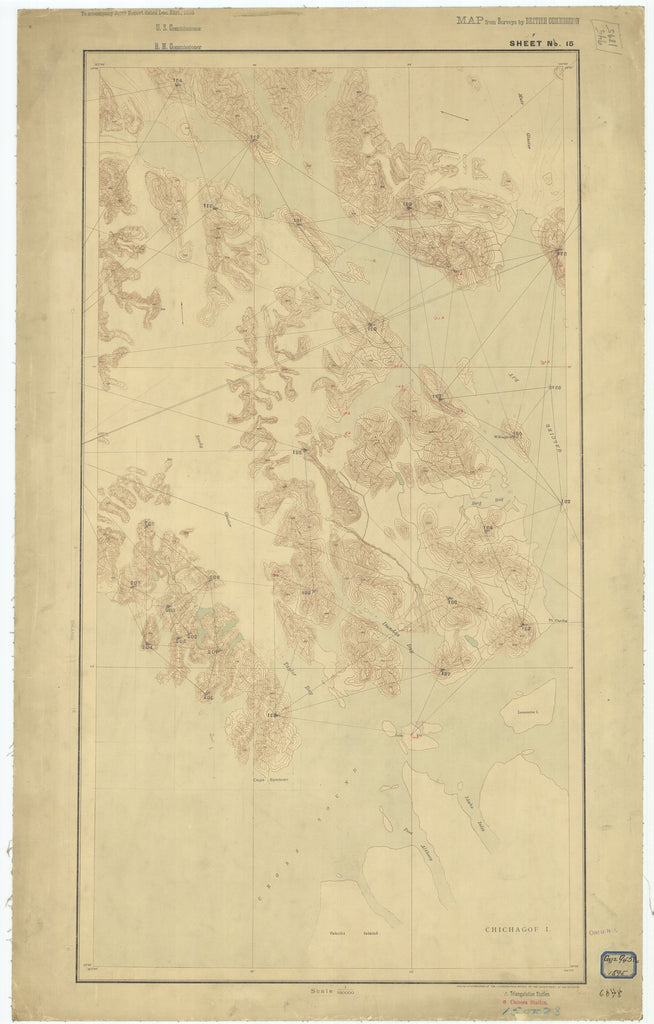 18 x 24 inch 1895 US old nautical map drawing chart of Sheet #15 From  Department of the Interior x2612