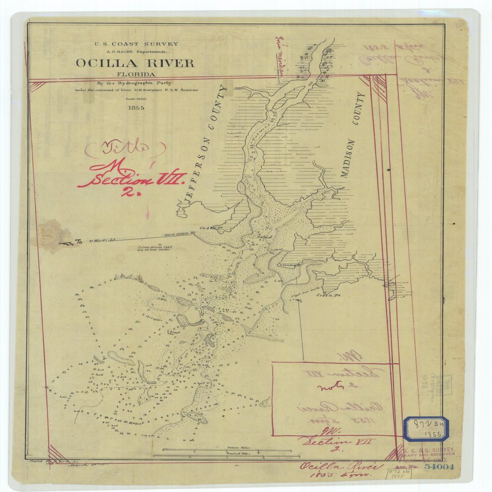18 x 24 inch 1855 US old nautical map drawing chart of Ocilla River Florida From  U.S. Coast Survey x762