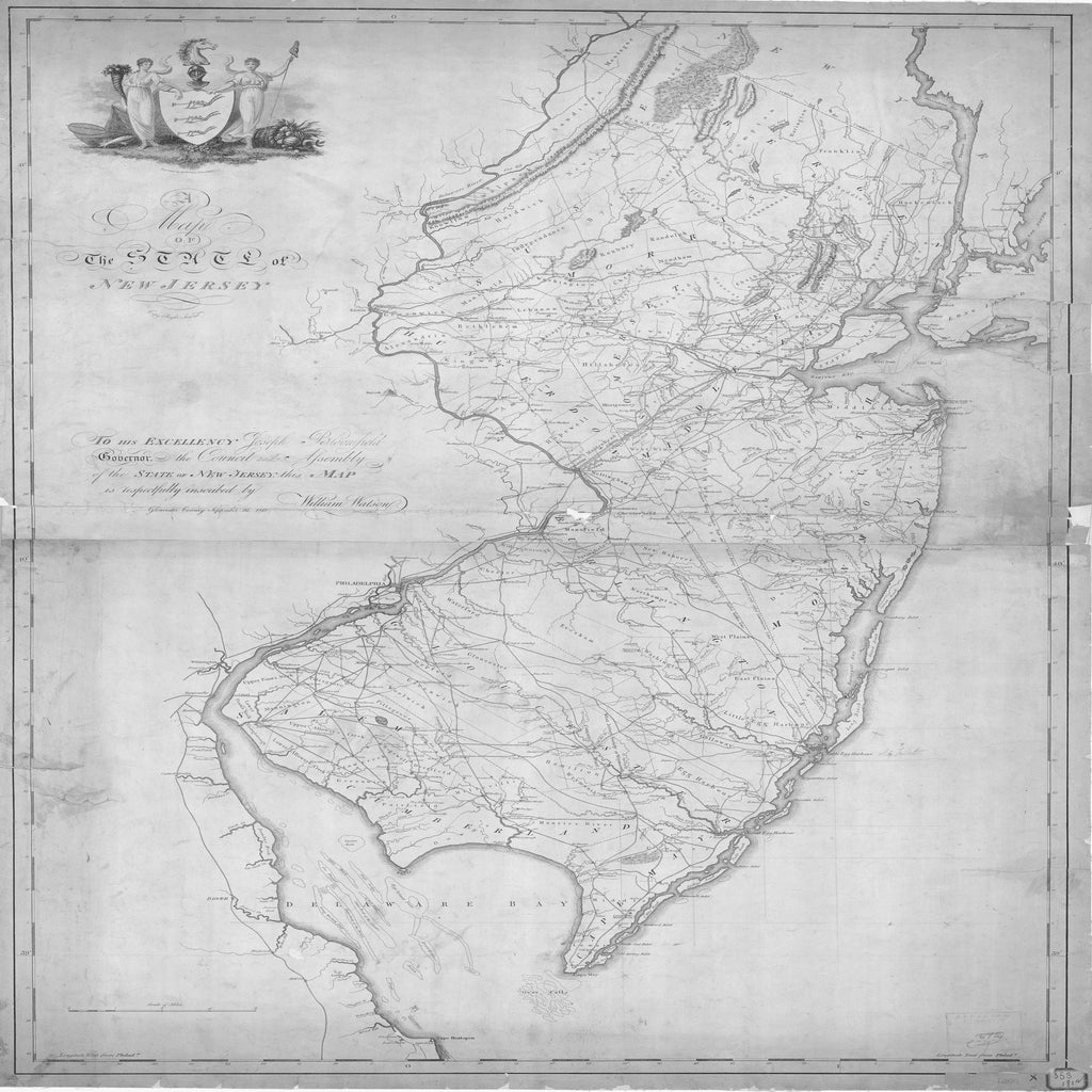 18 x 24 inch 1812 New Jersey old nautical map drawing chart of STATE OF NEW JERSEY From  NOAA x6659