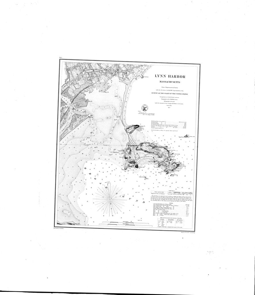18 x 24 inch 1859 US old nautical map drawing chart of Lynn Harbor From  U.S. Lake Survey x2737