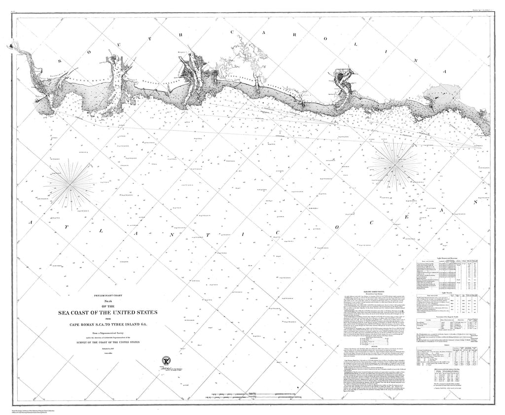 18 x 24 inch 1857 South Carolina old nautical map drawing chart of Nautical Chart of the Sea Coast of the United States From  U.S. Coast Survey x9026