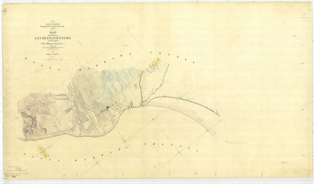 18 x 24 inch 1870 US old nautical map drawing chart of Map of the Town of San Buenaventura and Vicinity From  U.S. Coast Survey x436
