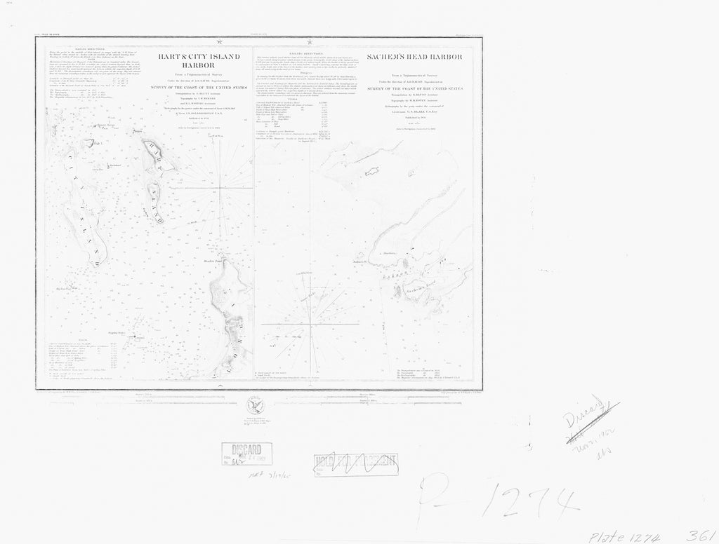 18 x 24 inch 1851 New York old nautical map drawing chart of HART AND CITY ISLAND HARBOR - SACHEMS HEAD HARBOR From  U.S. Coast Survey x6902
