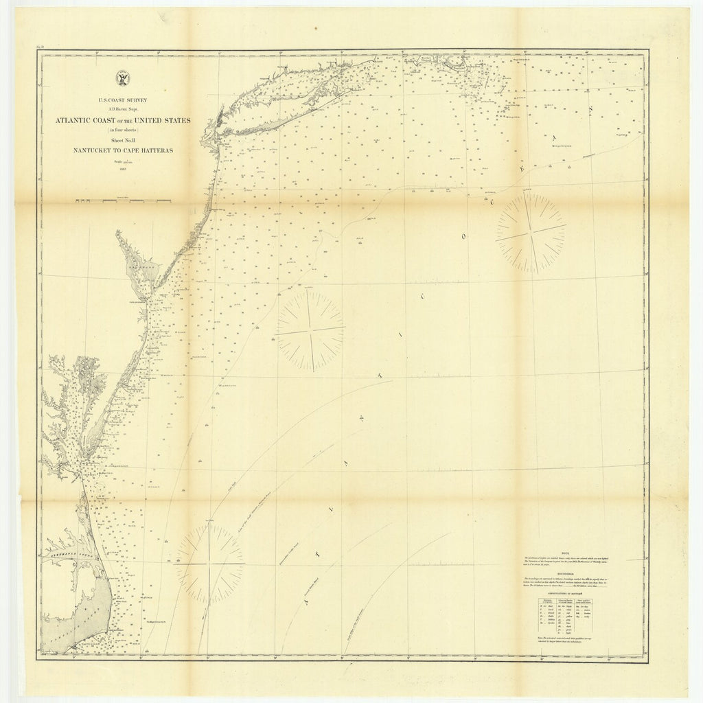 18 x 24 inch 1863 US old nautical map drawing chart of Atlantic Coast of the United States in Four Sheets, Sheet Number 2, Nantucket to Cape Hatteras From  U.S. Coast Survey x1963